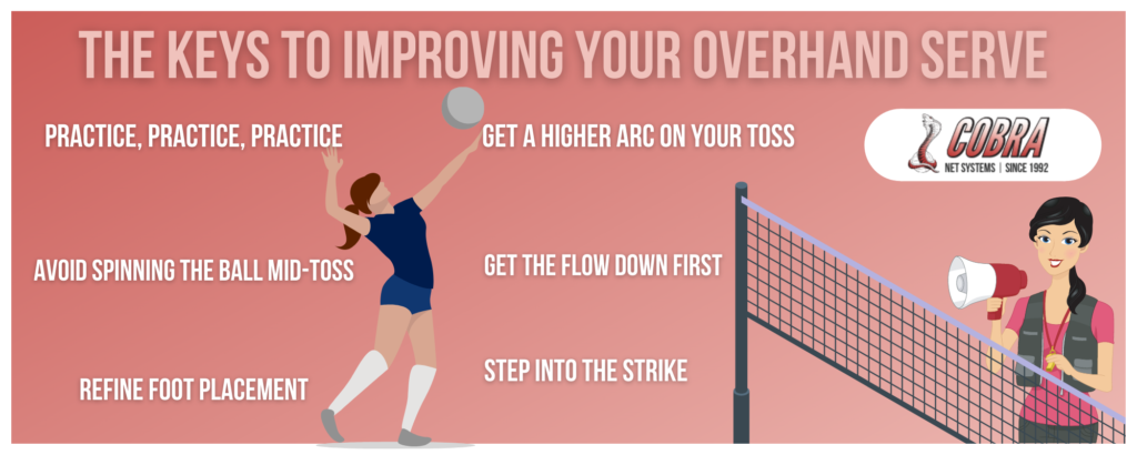 Infographic explaining tips for improving an overhand volleyball serve