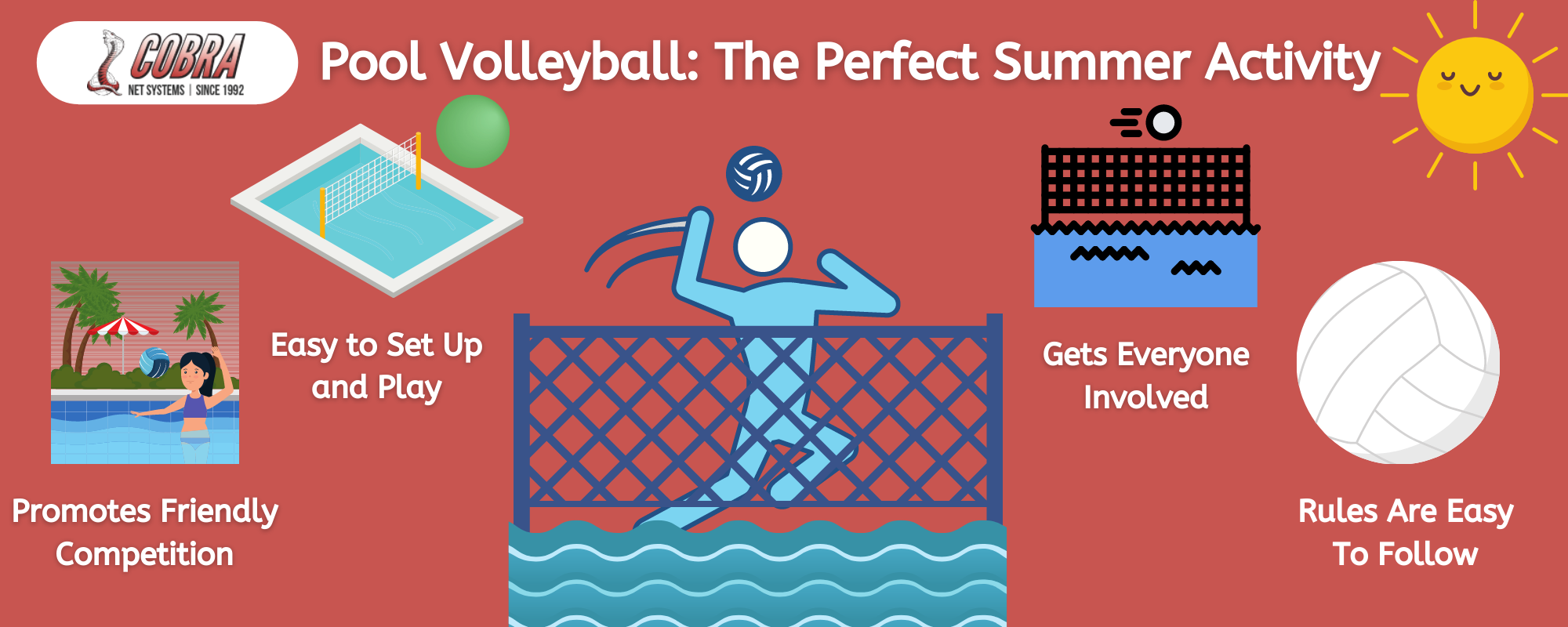 Infographic detailing why pool volleyball is the perfect summer activity